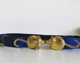 Vintage 70s Designer Mimi di N Blue Leather Belt with Gold Plated Mouse Buckle / Adjustable Length / Small to Medium