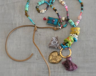 Talisman Hippie Necklace,  Gemstone Ethnic Necklace,  Evil Eye Bohemian Necklace,  Long,  Beaded Tassel Necklace,  Free Shipping