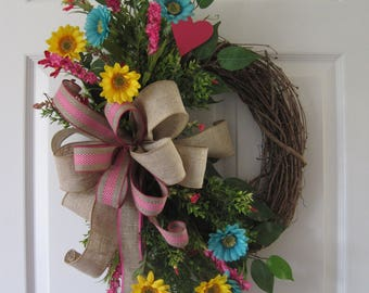 Spring Garden Wreath, Summer Wreath, Mothers Day Wreath, Bright Silk Flowers, Pink Heart, Front Door Wreath, Grapevine Wreath