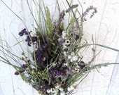 Dried Flower Bouquet Floral Flower Arrangement Wedding Yarrow Dyed Dark Purple Ammobium Meadow Grasses Wild Flower with Free Lavender Sachet