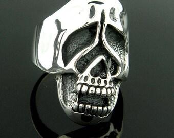Sterling Silver Sad Skull Ring Heavy