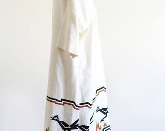 25% OFF Vintage 70's Cotton Dress with Roadrunner Pattern / Southwestern Style / Flared Dress / M L