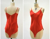 Vintage Silk Teddy Lingerie REd Silk Size Medium// Vintage Body Suit lingerie Red Silk Medium Wedding Honeymoon