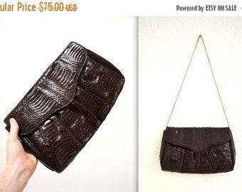 Sale 15% off Vintage Brown Leather Clutch Snakeskin Python// Brown Patent Leather Snake Skin Bag Purse by Timothys Collection