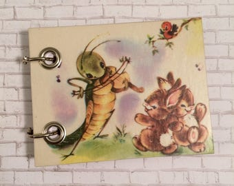 Recycled Notebook - Small Refillable Notepad - Upcycled Children's Book - Musical Cricket  Dancing Bunnies  - Animal Note Book