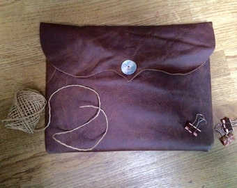 Leather iPad Air 2 Case, Conker Brown, Mother of Pearl button.