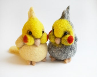 Needle felted Cockatiels