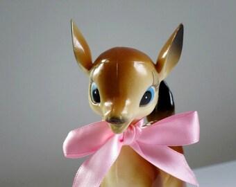Vintage Reindeer Figurine, Kitsch Fawn Deer, Christmas Reindeer Decoration, Hong Kong Plastic Deer, Retro Deer, 50s Vintage Bambi Deer Fawn