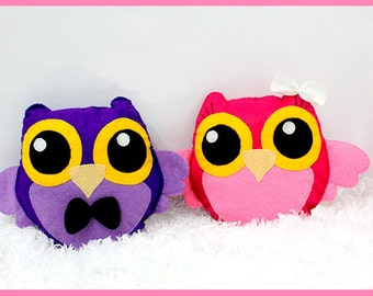 Eco Friendly Plush Owl Female or Male Felt Plush / Stuffed Toy