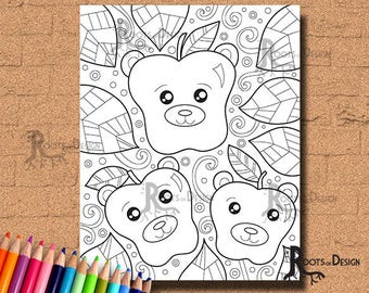 INSTANT DOWNLOAD Coloring Page - Bear Apples (bearpples) Print, doodle art, printable