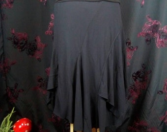 Flowy layered tee skirt in black  upcycled by Niknok