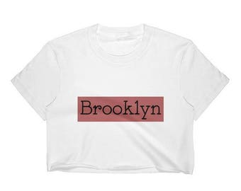 Brooklyn Crop Top Graphic Tee. Cropped urban city New York red white black graphic apparel hipster