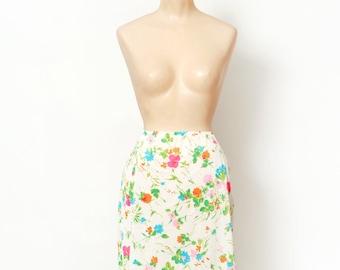 Vintage 60s Slip /  Mod / 1960s / gift for her / Warners slip / 1960's Half Slip / bright floral / Vintage nylon / pinup / burlesque /