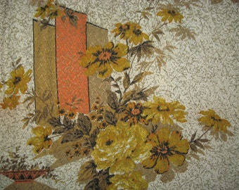 One atomic fibreglass curtain panel bamboo mid century mod asian vintage orange floral graphic print