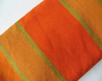 Stunning woven cotton mod vintage curtain panel fabric orange green embroidered wonderfulness