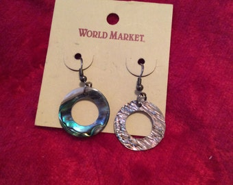 Abalone earrings pierced dangle new with tags world market 90s