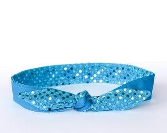 Headband Sparkle Turquoise  Girls Teen Women Hair Accessory Dance Prom Wedding New Years Eve Holiday Birthday Party Hairband