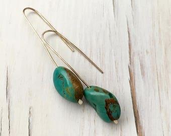 Turquoise Earrings Turquoise Drop Earrings Turquoise Jewelry Genuine Turquoise Earrings