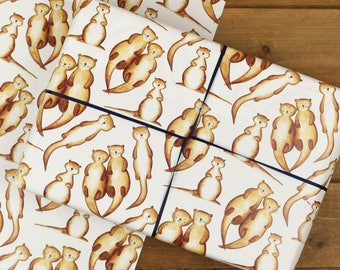 Otter Wrapping Paper Set - Mum, Otterly Love You - Wrapping Paper for Mum - Otters Holding Hands - Gift for Mum - Funny Otter Gift Wrap