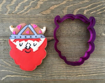 Mustache with Beard or Santa's Beard or Viking or Bison Cookie Cutter or Fondant Cutter and Clay Cutter