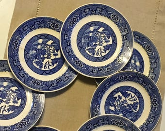 9 Blue Willow small plates, dessert plates, Homer Laughlin made in USA