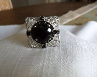 Vintage Black Onyx Black Spinel Sterling Silver Ring Size 6