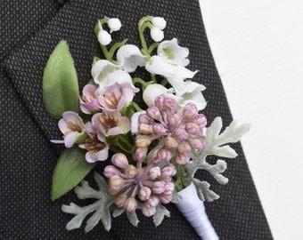 Wedding Boutonniere - EADEN GARDEN - Silk Flower Boutonniere, Groom's Boutonniere, Wedding Boutonniere, Wedding Accessories.