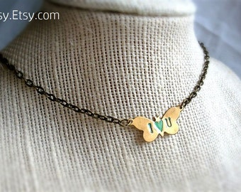 Butterfly Initials Necklace, Customized, Personal Jewelry, Thoughtful Gift Idea, Choose your Color and length