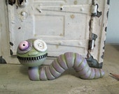 Unique spring Caterpillar with a touch of steampunk sculpted original art by Janell Berryman Pumpkinseeds