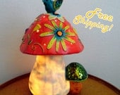 Whimsical Large Mushroom Hand-Painted Accent Lamp Night Light - Home Decor