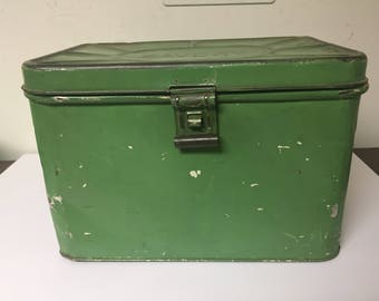 Vintage Green Breadbox Tin Savory