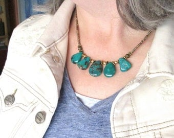 Green Turquoise Bib Necklace, Turquoise Copper Brass, Rustic Southwest Statement Necklace