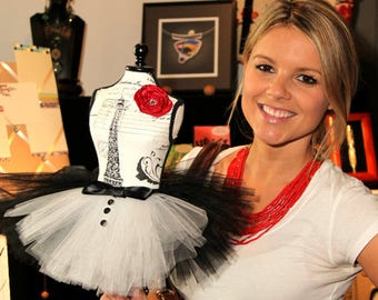 E! News and The Bachelorette's Ali Fedotowsky with Atutudes Tiny Tuxedo Tutu Created for the 2012 Oscars Academy Awards Celebrity Gift Suite