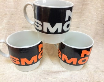 Retro Kitschy Novelty No Smoking Stackable Mugs, Made in Japan, Set of Three No Smoking Mugs, Orange, Black, White