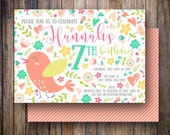 Bird Garden Party Invitation, Floral Birthday Party Invite, Printable Bird Garden Party Birthday Invite in Yellow, Green, Teal, Coral, Pink