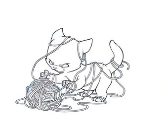 Yarn Cat, Original Art, Knitting, Destruction