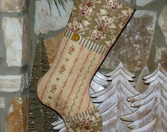 Country Christmas Stocking ...  Primitive Christmas Stocking .... Cottage Christmas Stocking ... Shabby Christmas Stocking