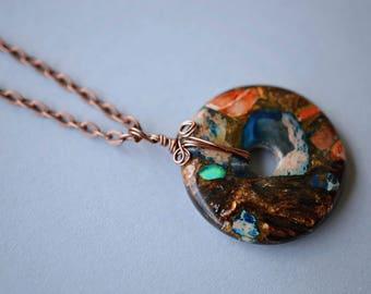 Sea Sediment Jasper Necklace, Copper Necklace, Antique Copper Necklace, Long Boho Necklace, Donut Necklace, Jasper Necklace