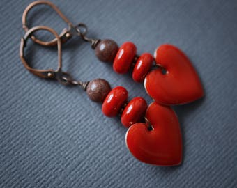 Red Heart Earrings, Ceramic Earrings, Heart Earrings, Copper Earrings, Enamel Earrings, Red Enamel Earrings, Leverback Earrings, SRAJD
