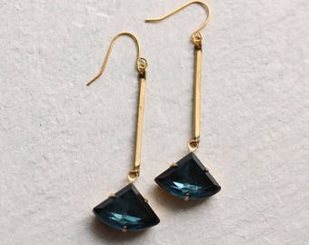 French Navy Blue Art Deco Earrings ... Sapphire September Birthstone Earrings