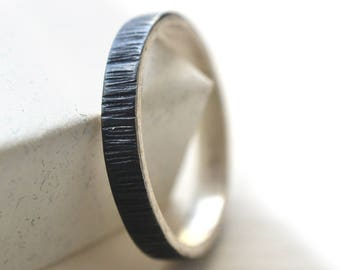 Tree Bark Ring, Oxidized Silver Narrow Birch Bark Wedding Band, Custom Engraving, Personalized Jewelry, Minimalist Ring