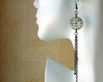 SALE Clock face  earrings,resin, shoulder duster earrings,steampunk earrings,time earrings,watch face earrings