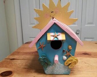 BIRDHOUSE Sunny Nautical Coastal Beach Bird House Sea Shells Ocean Cottage