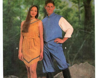 Simplicity 9729 Sewing Pattern for Misses', Men's, Teen-Boys' and Girls' Pocahontas and John Smith Costumes - Uncut