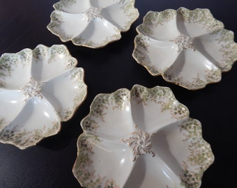 4 Tressemanes & Vogt Limoges Porcelain Oyster Plates from between 1891 and 1917 LOWER PRICE