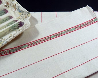 Vintage French Kitchen Towels or Torchons with Red Stripes on Linen ...