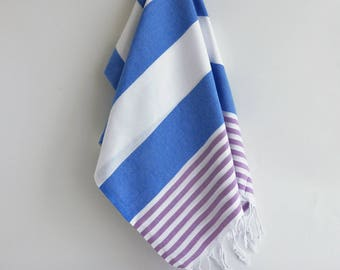 NEW / SALE 50 OFF/ Turkish Beach Bath Towel / Blue - Lilac / Wedding Gift, Spa, Swim, Pool Towels and Pareo