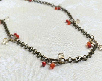 Long Necklace with Faceted Citrine, Carnelian and Coral Gemstones on Antiqued Gold Plated Brass Chain