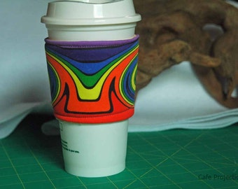 Mirrored Swirls Rainbow - Coffee Sleeve #7
