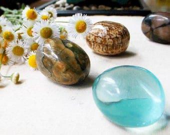 MOTHER EARTH crystal set - Earth Day, Gaia, crystal healing, crystal grid, Aragonite, Chiastolite, Aqua Obsidian, Rainforest Jasper